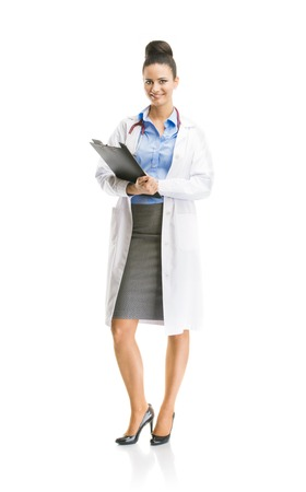 Smiling medical doctor woman with stethoscope  Full body portraits isolated on white background Stock Photo - 26530174