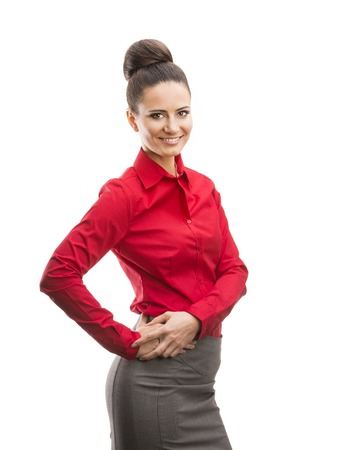 Professional business woman in modern shirt  Isolated over white background  photo