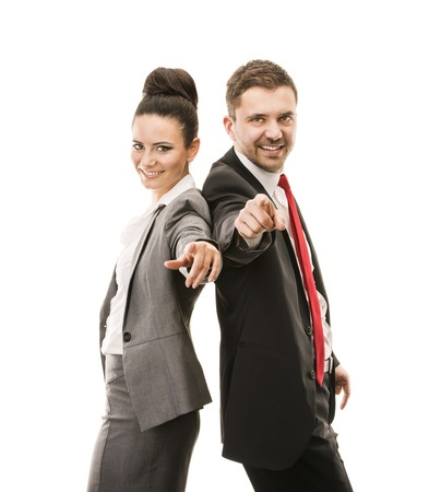 fun at work: Young smiling business woman and business man isolated over white background  Crazy and funny posing in studio