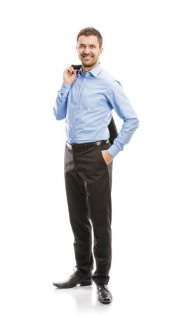 cuerpo entero: Exitoso hombre de negocios en traje está planteando en el estudio aislado sobre fondo blanco Todo el cuerpo retratos Foto de archivo