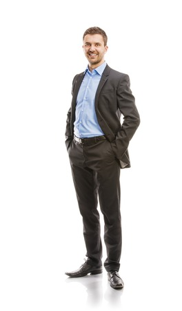 Successful business man in suit is posing in studio isolated over white background  Full body portraits