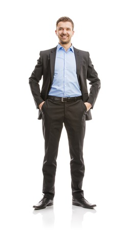 Successful business man in suit is posing in studio isolated over white background  Full body portraits  photo