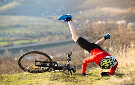 crash helmet: Mountain bikker is having painful accident on the bike