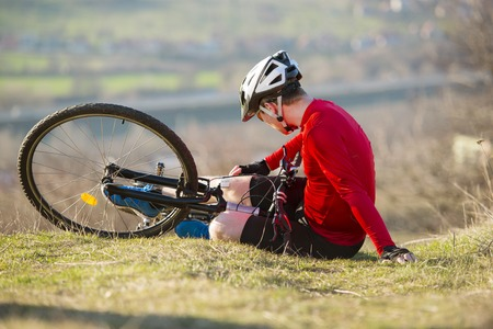 accident damage: Mountain bikker is having painful accident on the bike