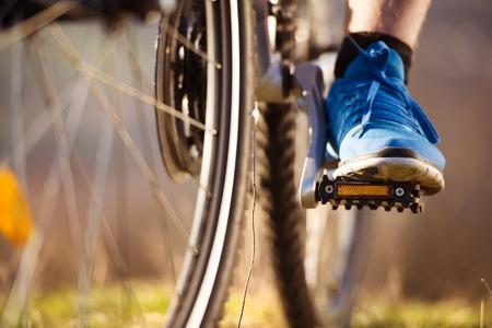 bicycle race: Detail of the mountain biker wheel