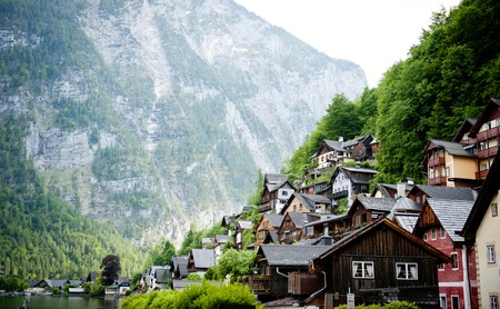 Landscape in austrain village Hallstatt photo