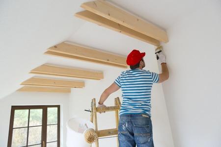 Heureux l'homme peint sa nouvelle maison Banque d'images - 27824320