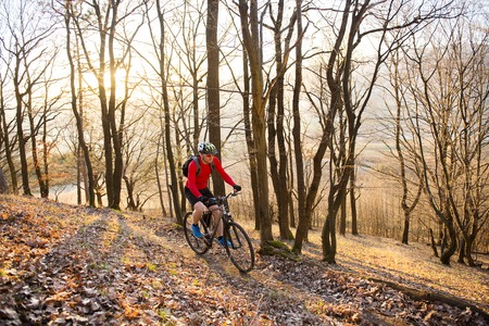 Cyclist ridding mountain bike outdoor photo