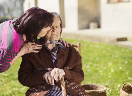 80 plus years: Senior woman with daughter taking care of her