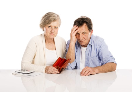 broke: Senior couple with empty wallet discussing financial issues, isolated on white background