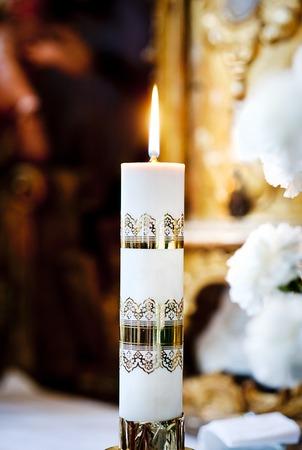 prayer candles: Interior of beautiful european church ready for wedding ceremony