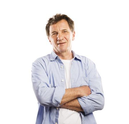 Senior casual man style portrait, studio shot, isolated on white background photo