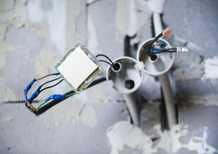 building activity: Electrician s tools for repairing the socket and swtich
