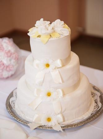 marzipan: Beautiful and tasty wedding cake at wedding reception