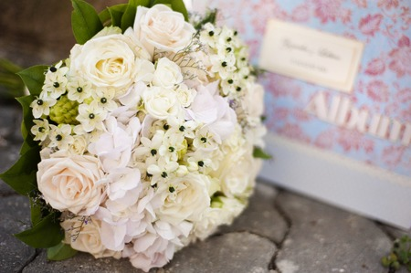 Close up of beautiful floral wedding bouquet photo