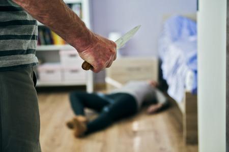 beaten woman: Domestic violence Stock Photo