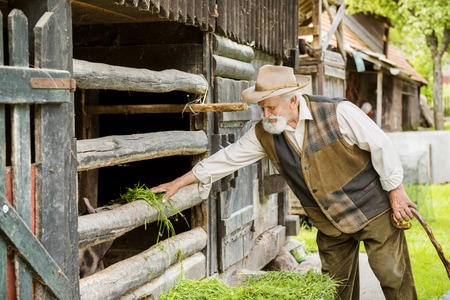 agriculturalist: Old farmer with beard and hat standing by his farmhouse