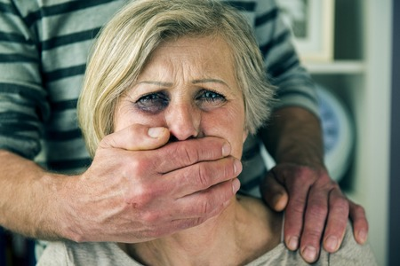 abused women: Domestic violence Stock Photo