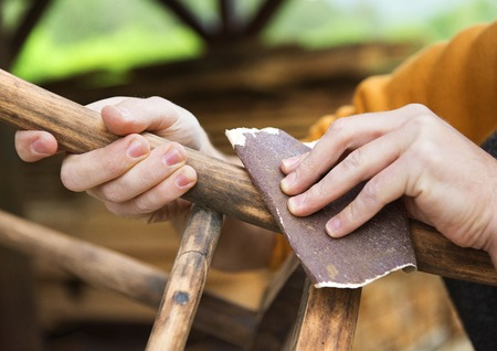 antique wood: Chair renovation Stock Photo