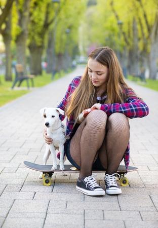 skate park: Girl skating Stock Photo