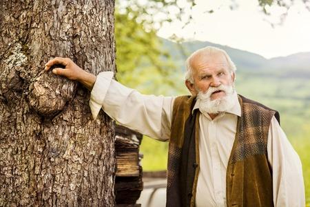 gaffer: Old farmer with beard is walking in meadow