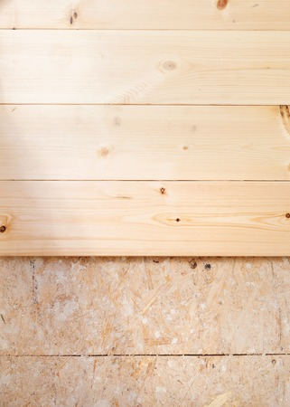 New wooden floor beeing istalled in new house Stock Photo