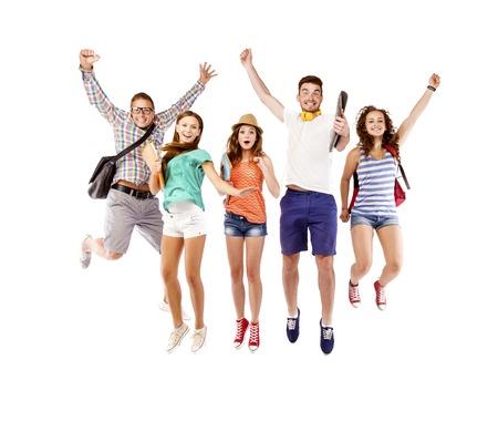 Students jumping photo