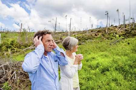 Senior couple at destroyed forest as an effect of strong storm in High Tatras, Slovakia photo
