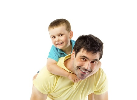 Father with his son isolated on white background photo