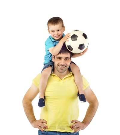 Father with his son isolated on white background Stock Photo