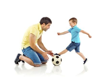 Vader met zijn zoon op een witte achtergrond Stockfoto