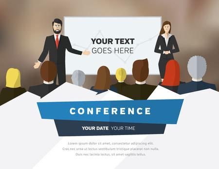 corporativo: Conferencia plantilla de ilustración con espacio para sus textos Vectores