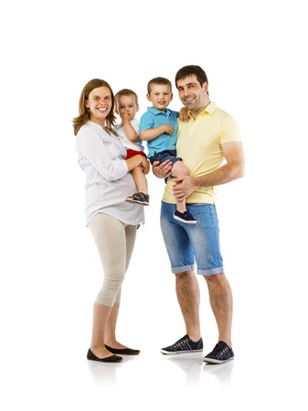 Portrait of the happy family with two children and pregnant mother, isolated on white background photo