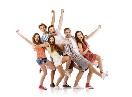 Group of happy young teenager students having fun, isolated on white background  Best friends