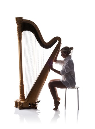 musician silhouette: Harp player Stock Photo