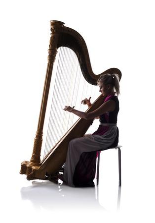 the harp: Jugador de la arpa Foto de archivo