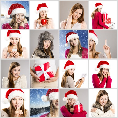 x mas: Christmas face collage of brunette girl in santa hat