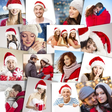 Collage of happy people in santa hats celebrating Christmas photo
