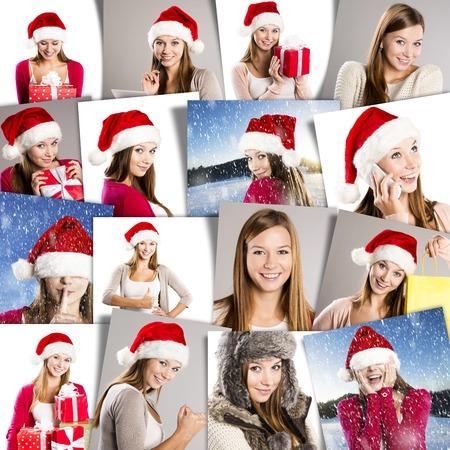 Christmas face collage of brunette girl in santa hat photo