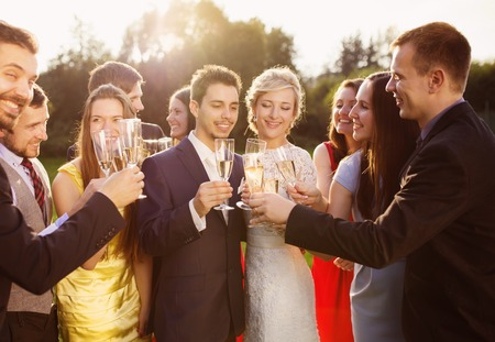 Wedding guests clinking glasses with the newlyweds at the wedding reception outside Stock Photo