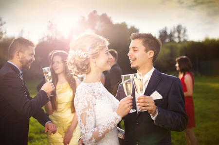 Young newlyweds and wedding guests clinking glasses at wedding reception outside photo