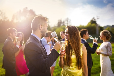 Wedding guests clinking glasses while the newlyweds drinking champagne in the background photo