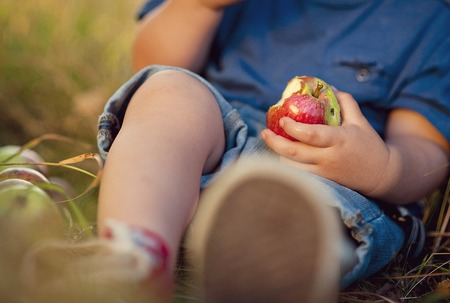 Close up of little boy eating a red apple in green park