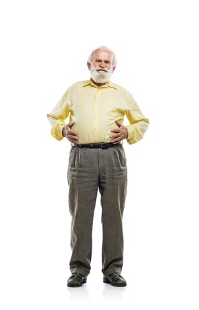 1 mature man: Old bearded man holding tummy isolated on white background
