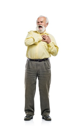 excruciating: Old bearded man having chest pain isolated on white background