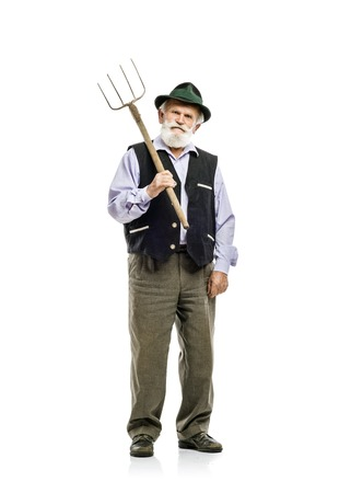 hayfork: Old bearded bavarian man in hat holding pitchfork in his hand, isolated on white background
