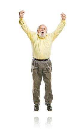 Happy old active bearded man jumping isolated on white background photo