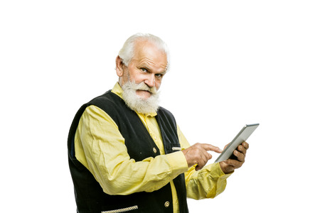 Senior man with tablet photo