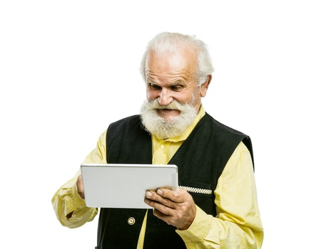 old man beard: Senior man with tablet