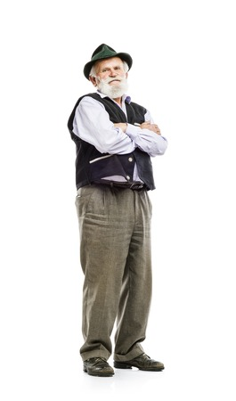 old man beard: Old bearded bavarian man in traditional hat, isolated on white background Stock Photo